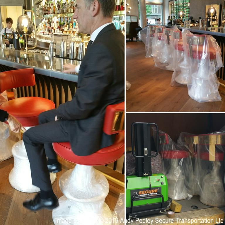 White glove delivery of hand made furniture bar stools to Brussels Belgium by Secure Transportation Ltd