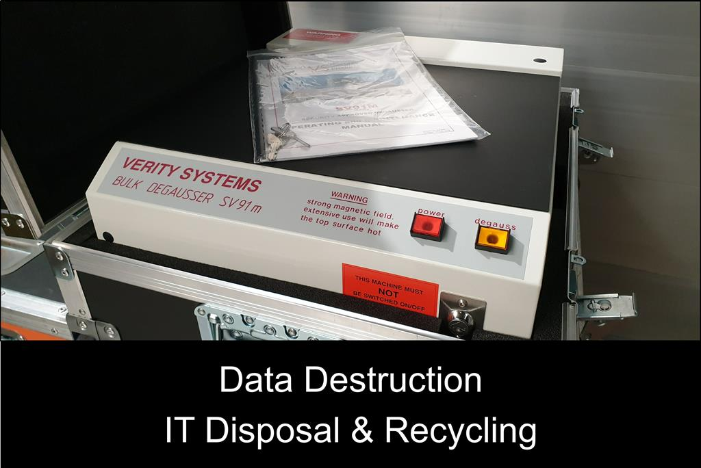Secure Transportation can permanently destroy hard disk drives on site. Data Destruction with our NATO approved Verity Systems degausser SV91m